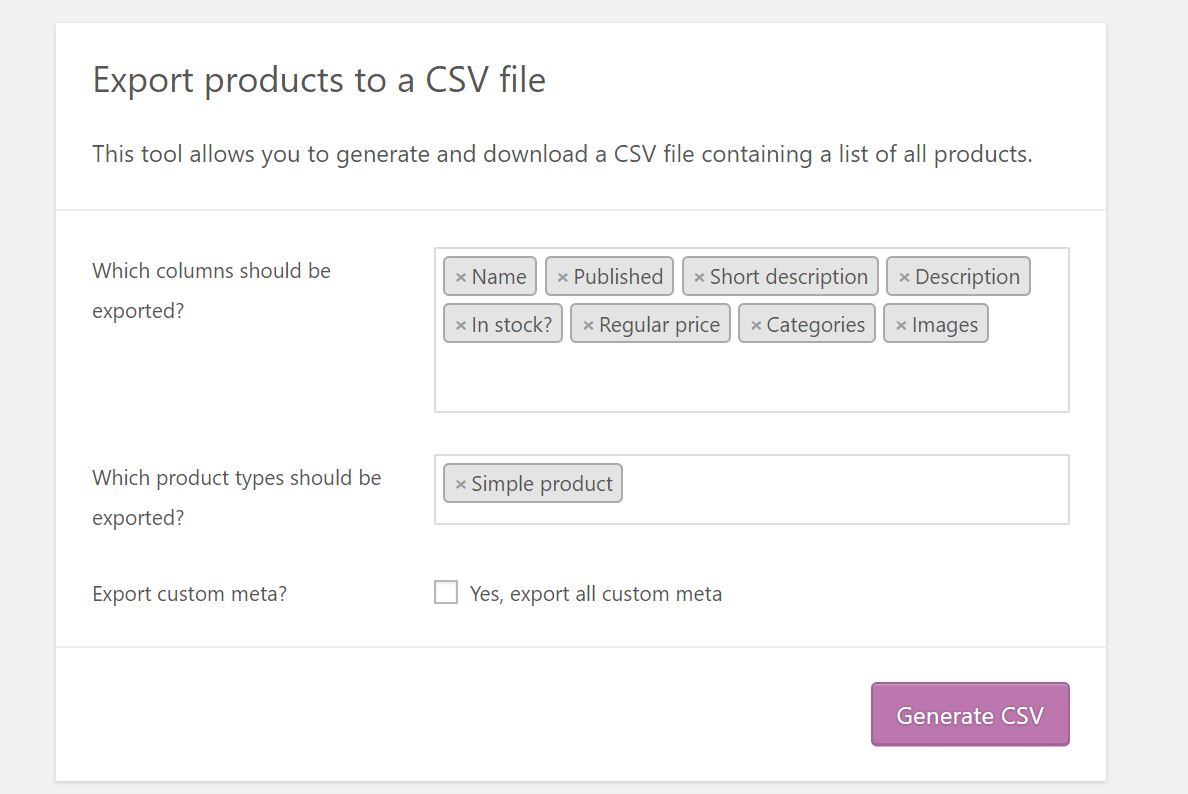 Exporting products from your Woocommerce / Wordpress site - Zebo