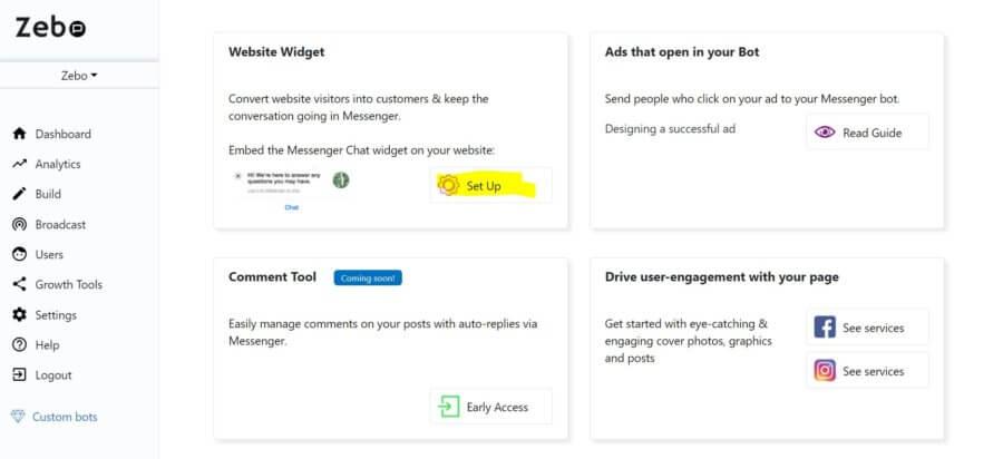 How to set up a AI Facebook Messenger chatbot website widget - Zebo