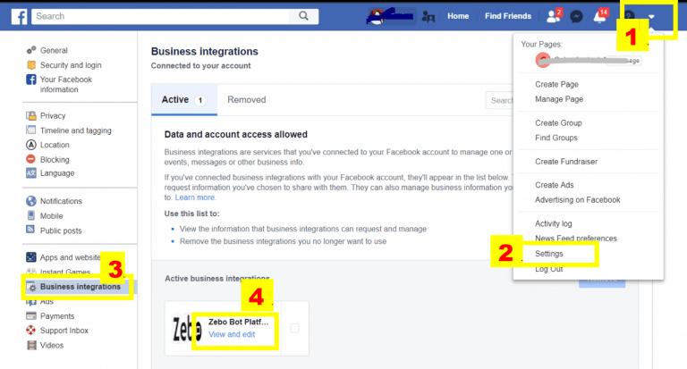 Facebook business integrations chatbot platform