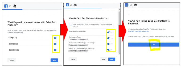 Authorizing Zebo when you login with your Facebook account.